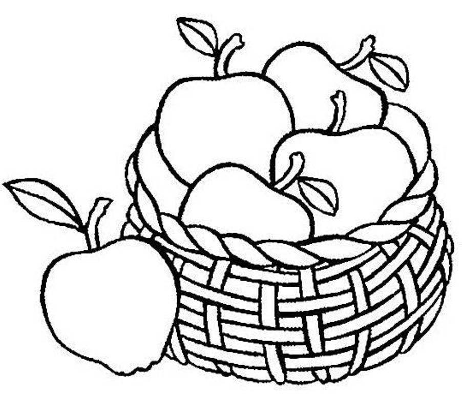 902x770 Draw A Bushel Of Apples How To Basket With Apple