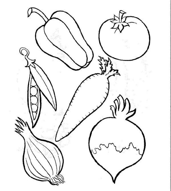 600x669 Fruit And Vegetables Coloring Pages