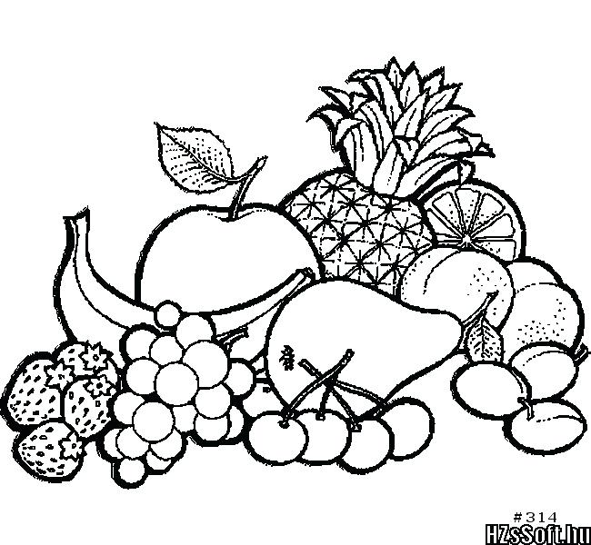 650x600 Fruit Basket Coloring Pages A Of Fruits Drawing