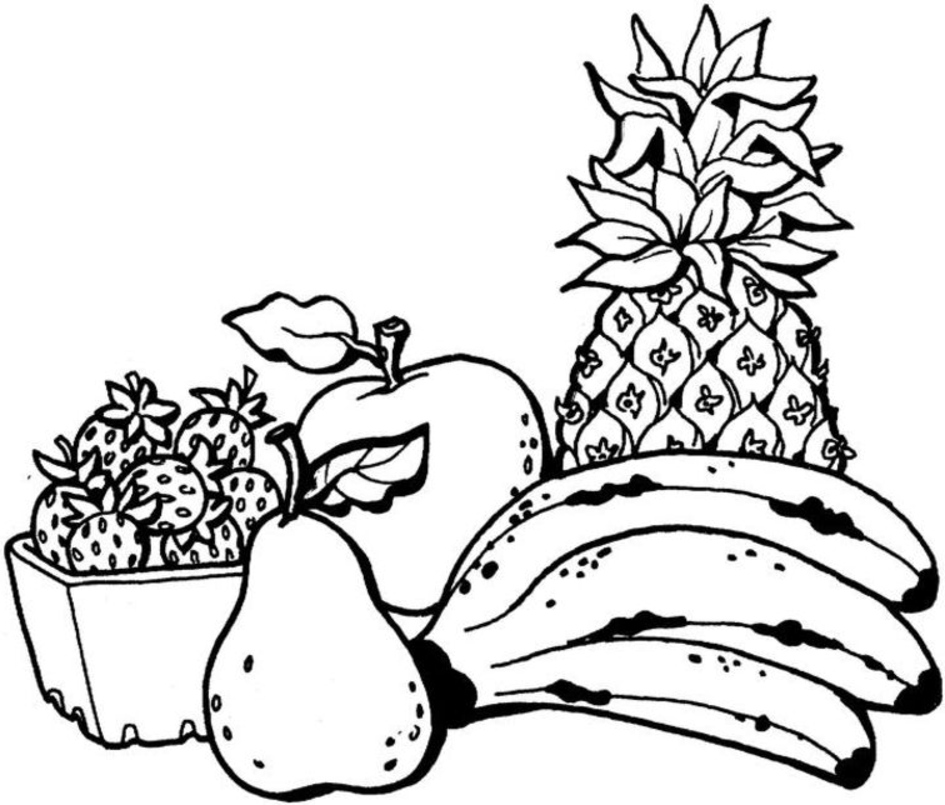 945x805 Fruits Coloring Pages For Kids Free