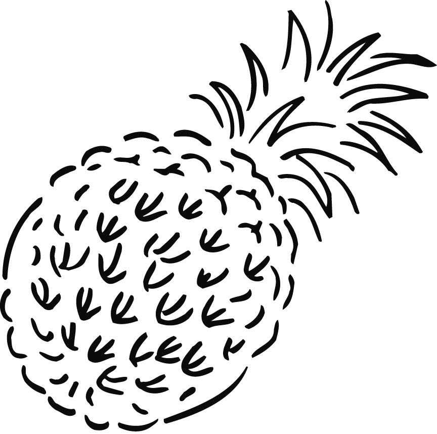 864x858 Coloring Page Of Pineapple Fruit For Kids