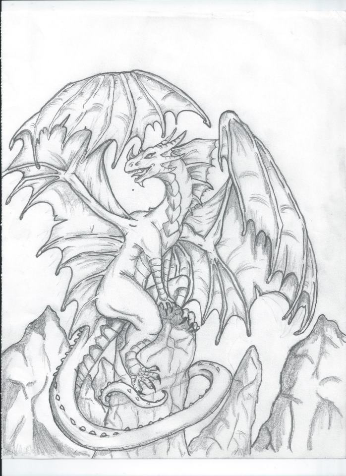 698x960 Dragon Sketch (Full Body) By Dragonyugisdarkheart
