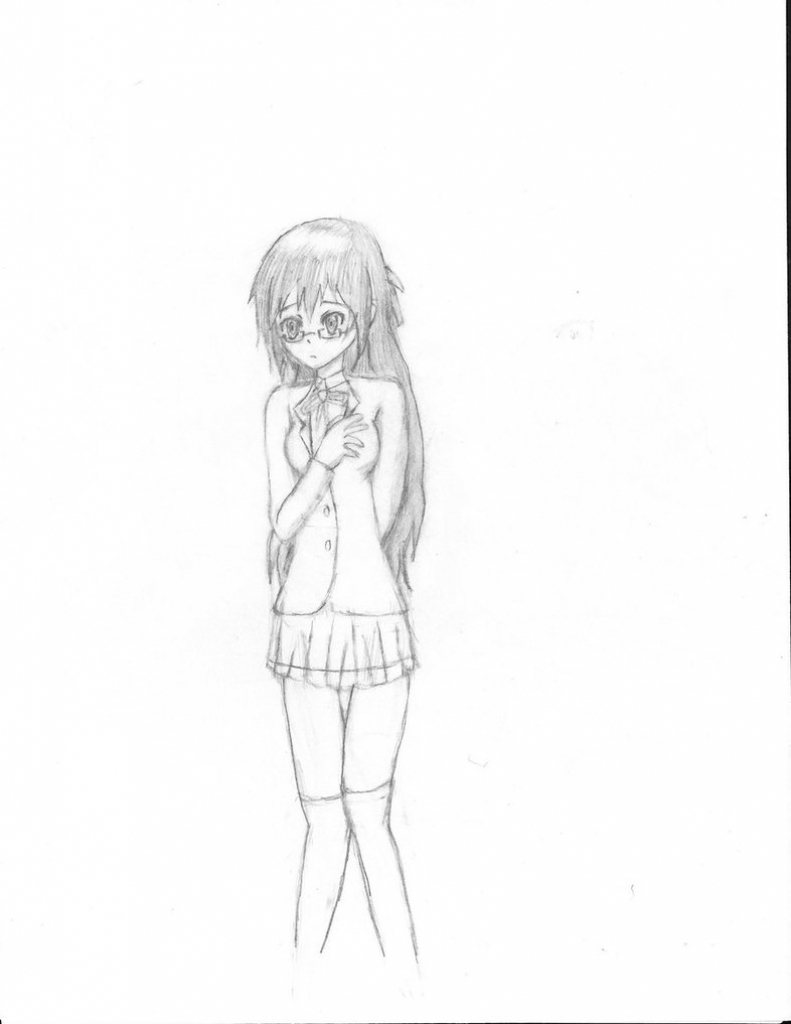 791x1024 Anime Girl Full Body Drawing