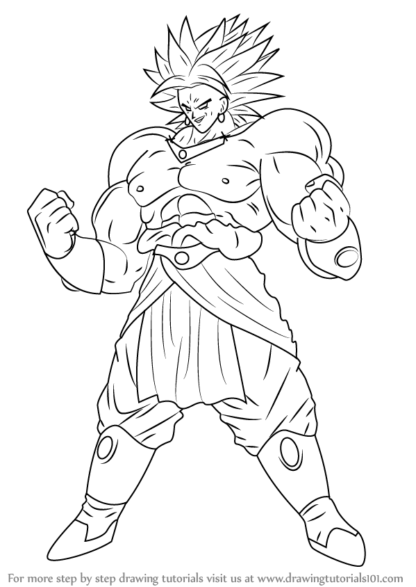 599x844 Learn How To Draw Broly From Dragon Ball Z (Dragon Ball Z) Step By