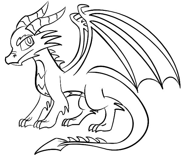 600x517 Coloring Pages Alluring Easy To Draw Dragons Coloring Pages Easy