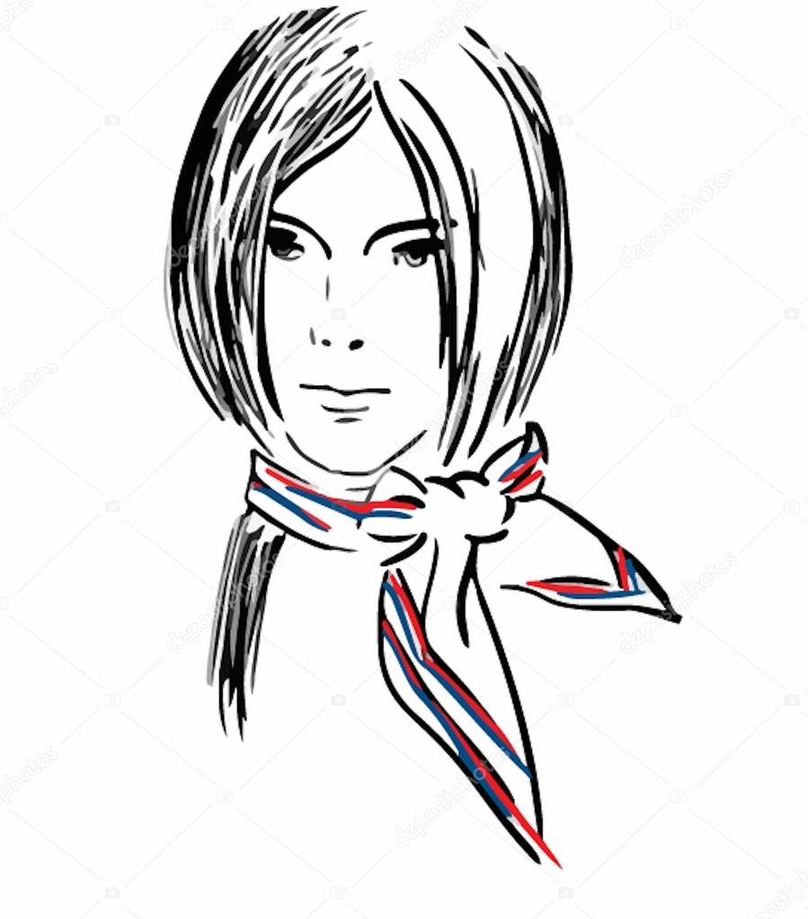 899x1023 Hand Drawn Model Woman Vector Icon Illustration Stock Vector