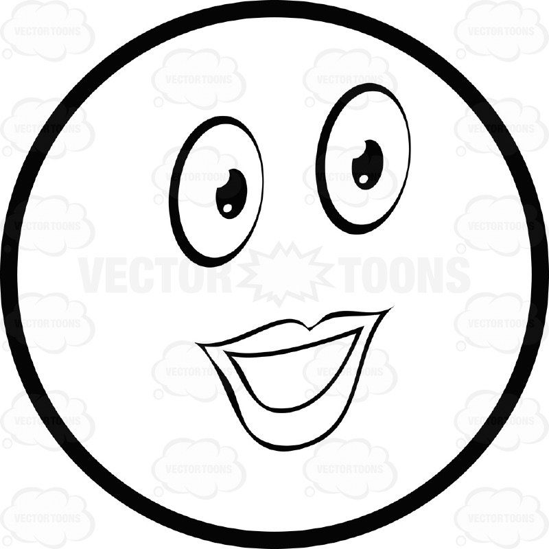 800x800 Large Eyed Black And White Female Smiley Face Emoticon Lady With