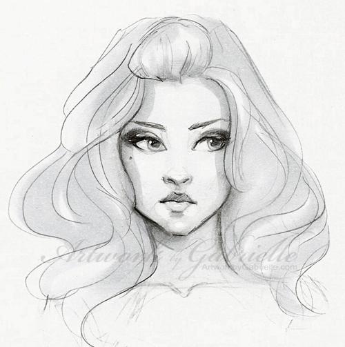 500x503 Thick Voluminous Hair, Girl illustration, drawing, sketch