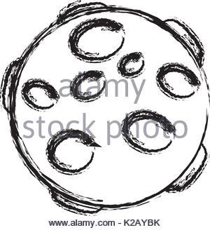 300x328 Cartoon Full Moon Illustration On Transparent Background Stock