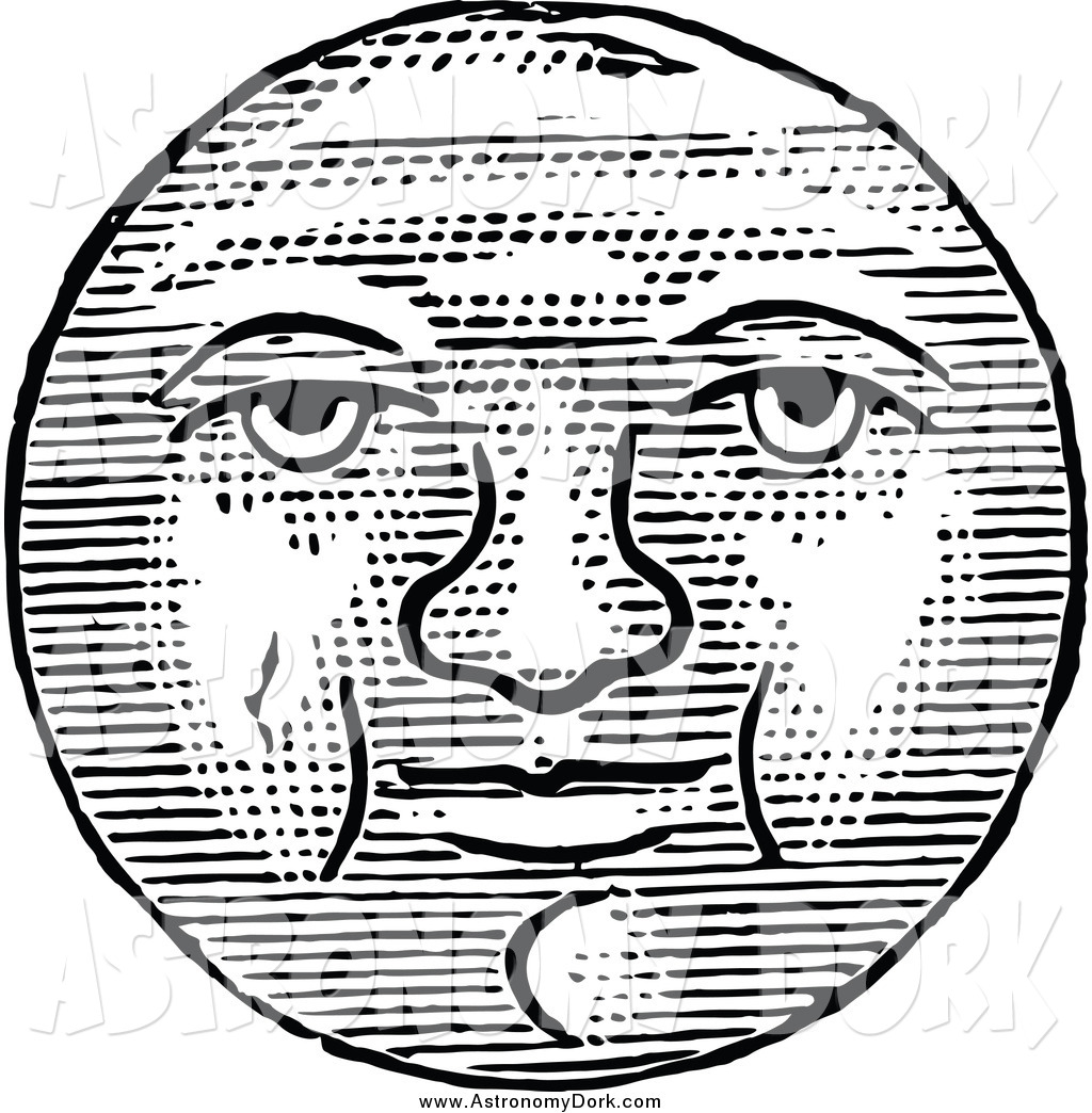 1024x1044 Clip Art Of A Black And White Full Moon Face By Prawny Vintage