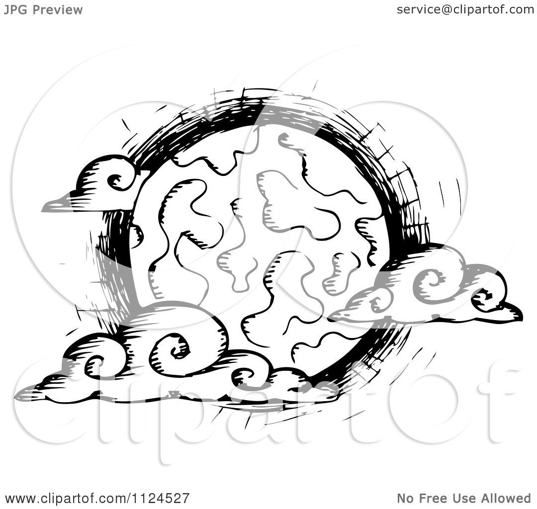 1080x1024 Clipart Of A Sketched Black And White Creepy Full Moon With Clouds
