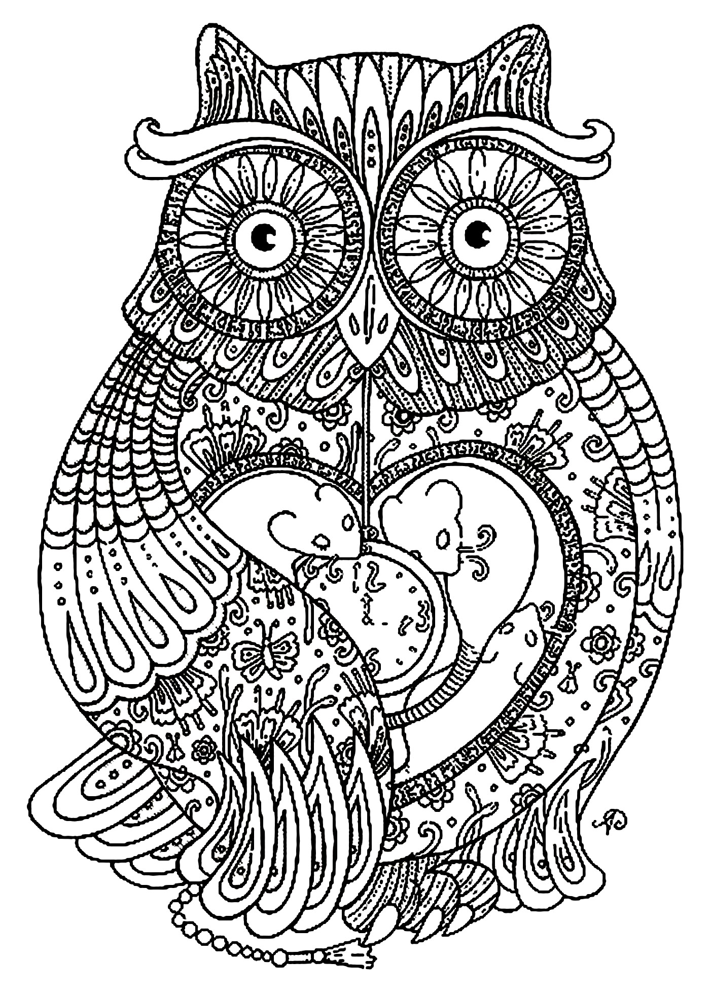 1400x1964 Free Coloring Page Coloring Adult Big Owl. Pretty Owl Full