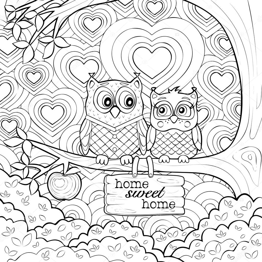 1024x1024 Adults Art Therapy Coloring Page Of Two Cute Owls Stock Vector