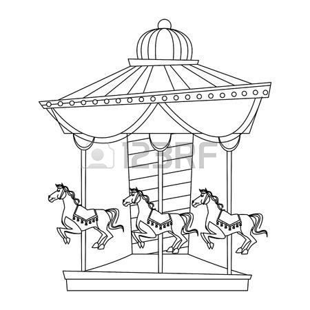 450x450 Funfair Circus Carousel Horse Carnival Vector Illustration Royalty