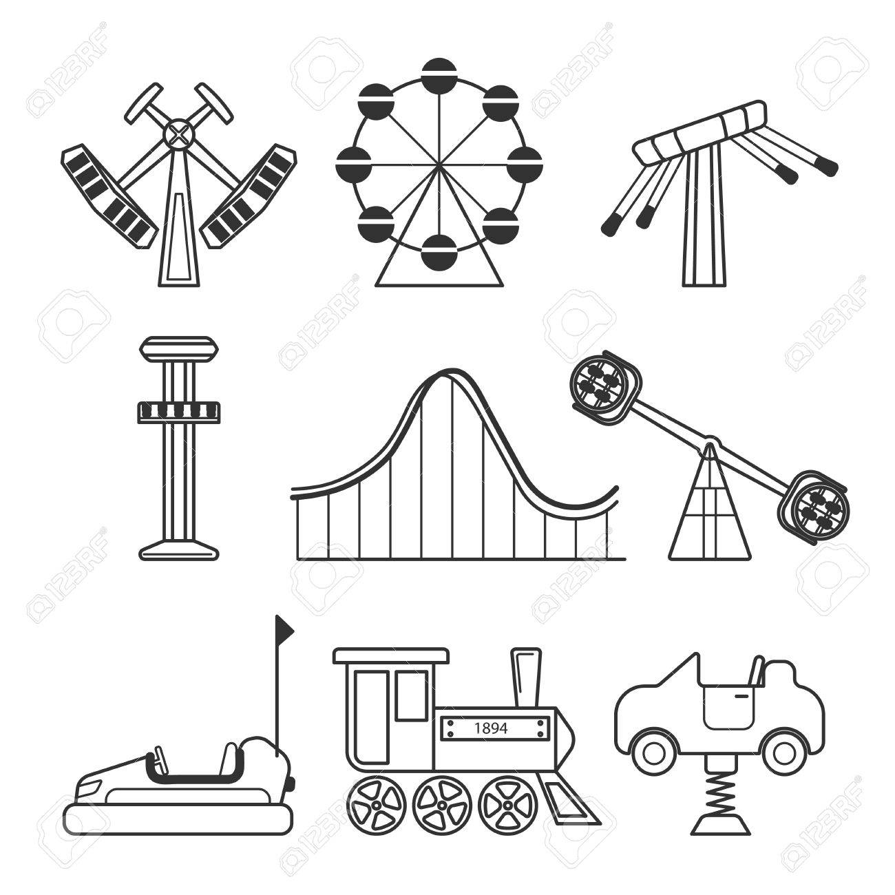 1300x1300 Icon Set For Amusement Park Or Funfair Attraction In Black