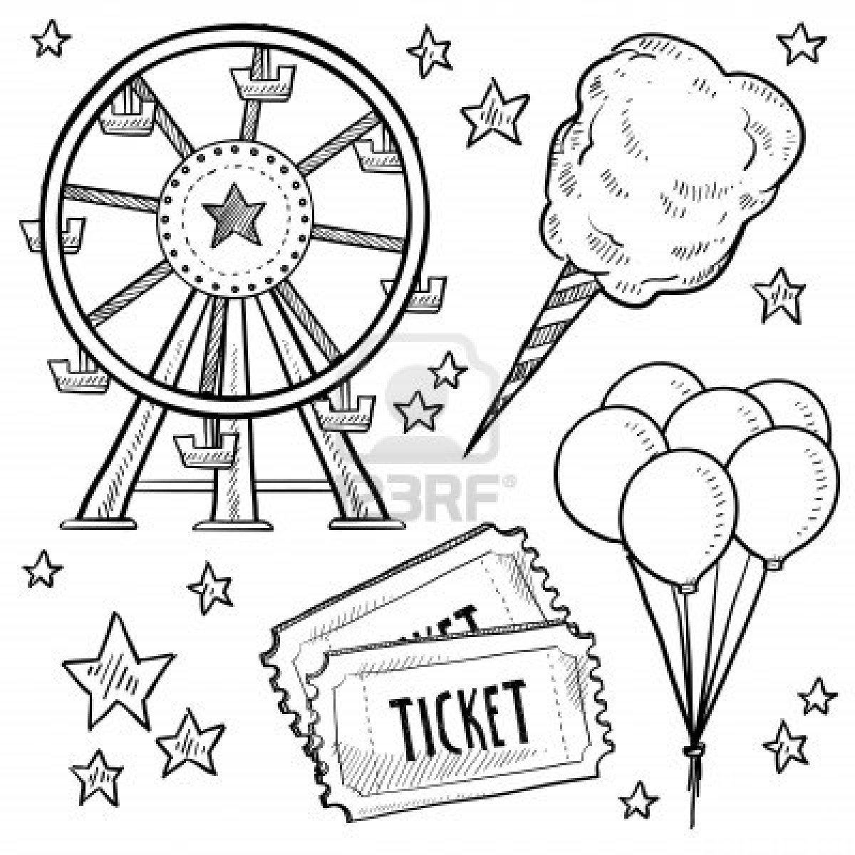1200x1200 Doodle Style Amusement Park Or Carnival Equipment Sketch In Vector