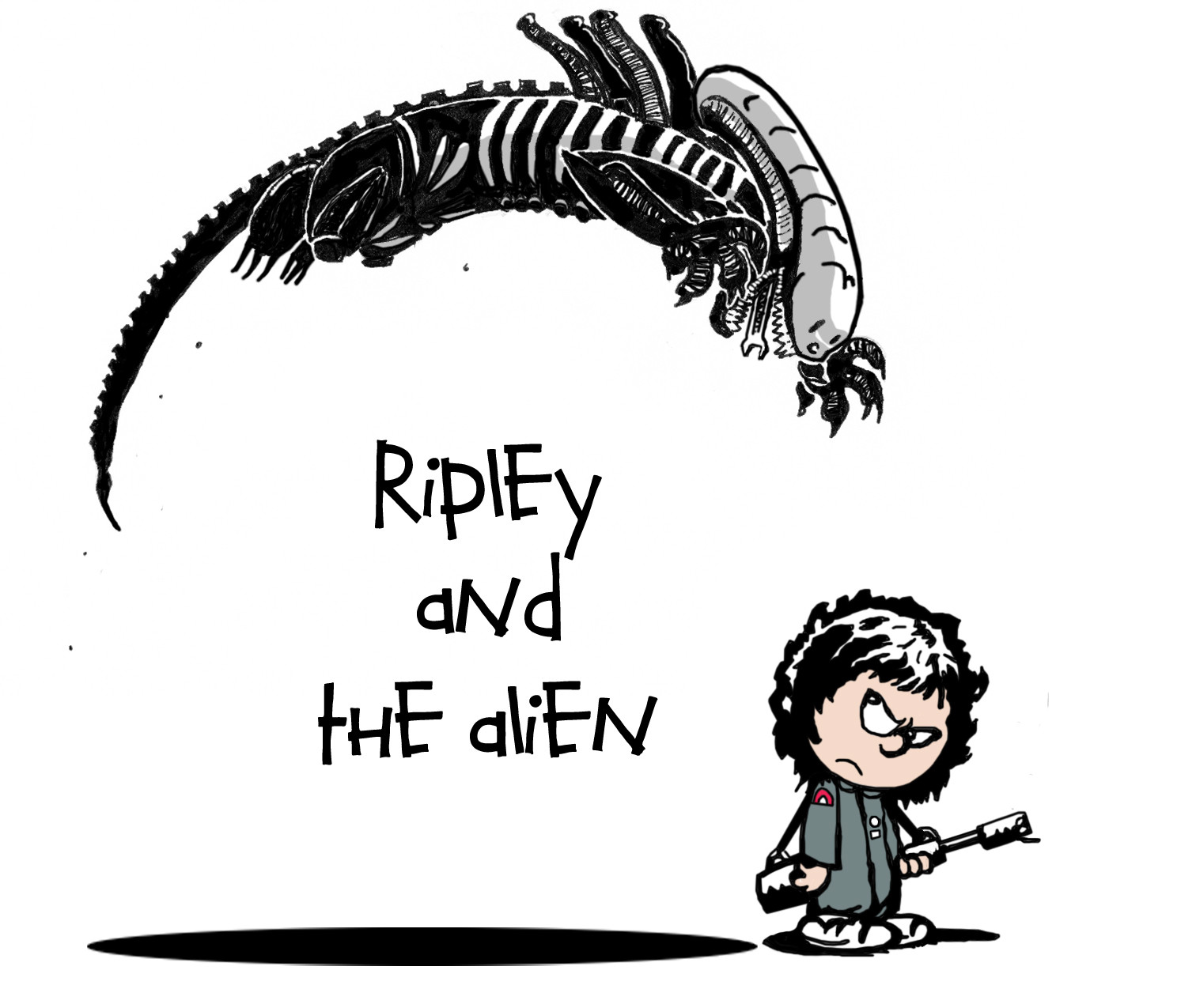 1512x1275 My Drawing Of Ripley And The Alien Done In A Calvin And Hobbes