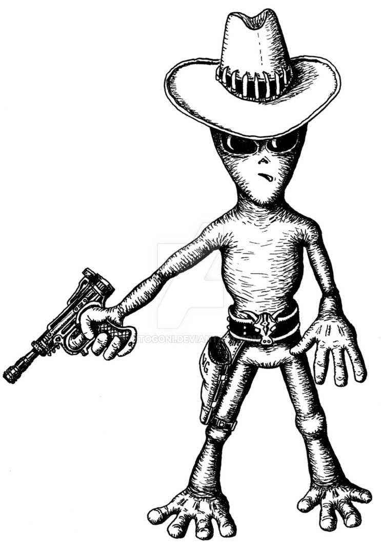 743x1075 Alien Cowboy Funny Black And White Pen Ink Drawing By Vitogoni