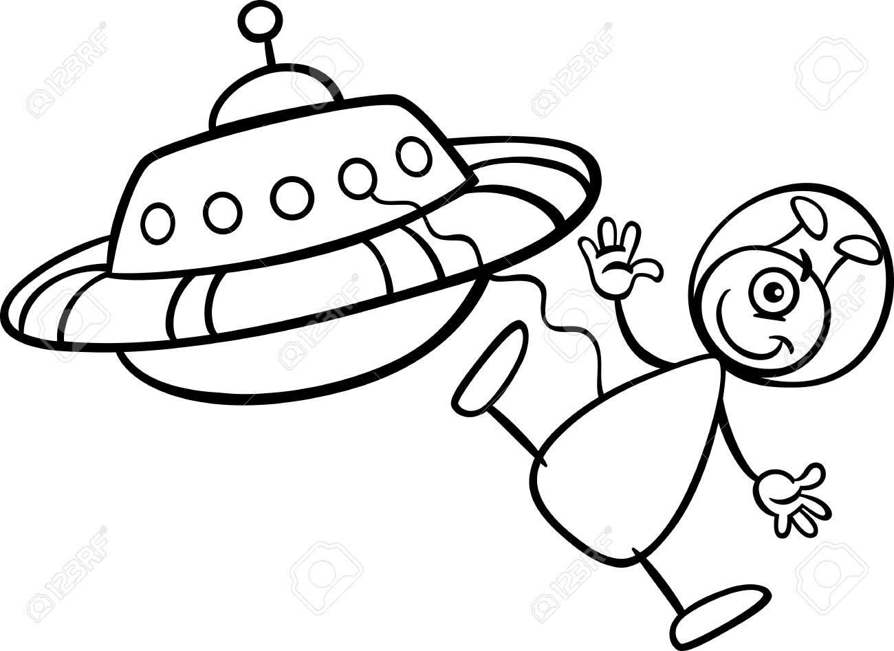 1300x947 Black And White Cartoon Illustration Of Funny Alien Or Martian