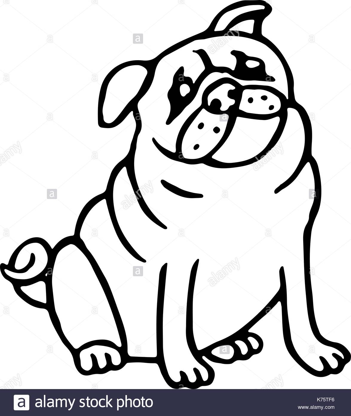 1175x1390 Cute Outline Pug. Isolated Vector Illustration. Funny Cartoon Dog