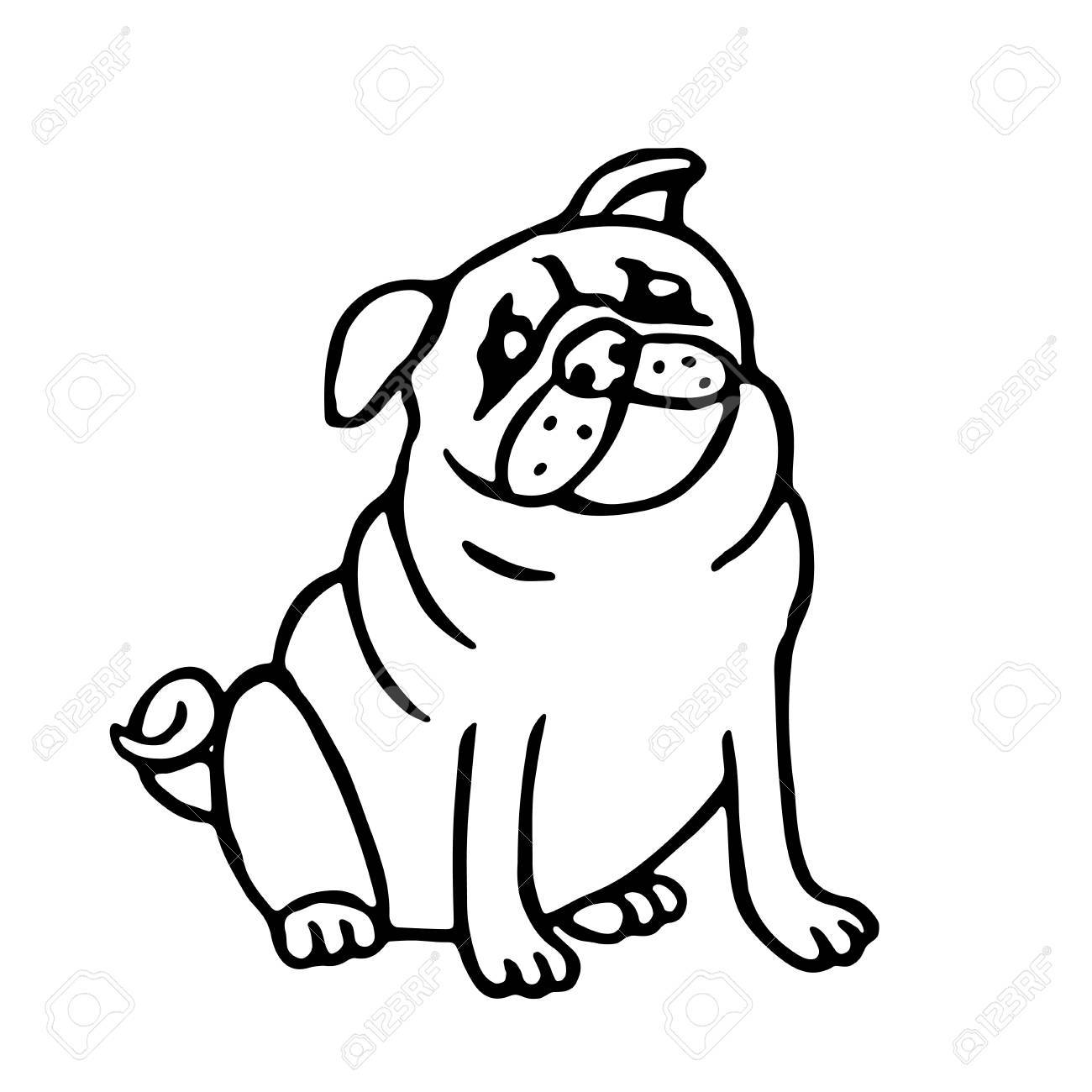 1300x1300 Cute Outline Pug. Isolated Vector Illustration. Funny Cartoon