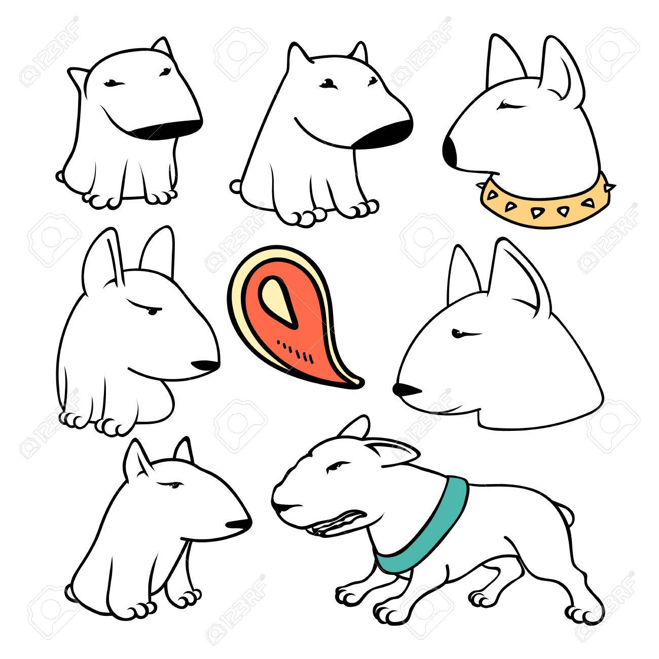 1300x1300 Dogs Characters Pitbull. Funny Animals Cartoon. Doodle Sticker