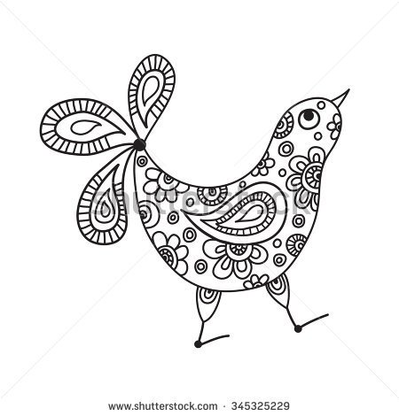450x470 Funny Bird Chicken Isolated Figure. Black And White Graphics, Hand