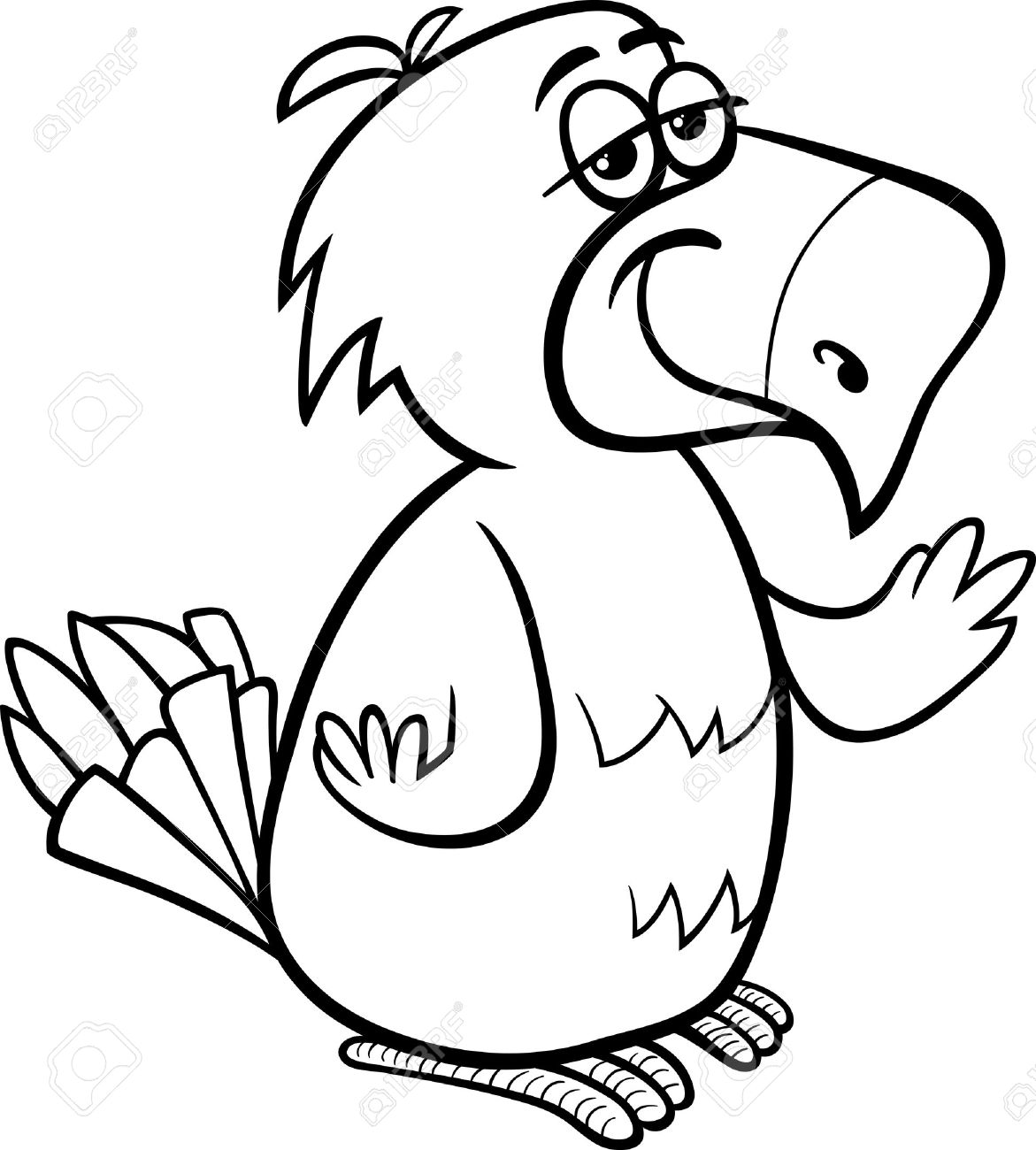 1171x1300 Black And White Cartoon Illustration Of Funny Parrot Bird