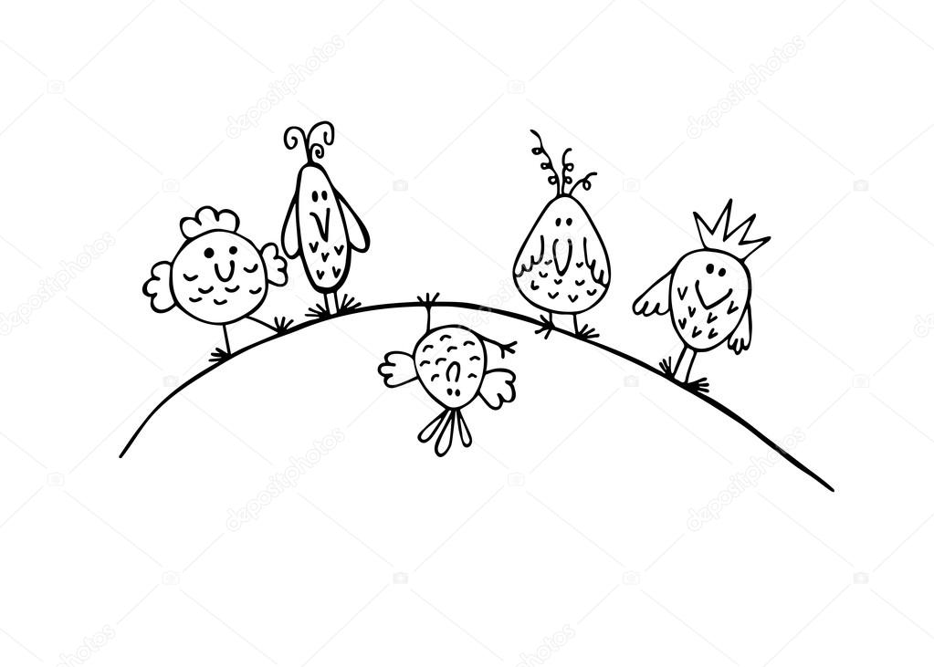 1023x731 Hand Draw Sketch Funny Birds On A Branch. Stock Vector Nilmerg