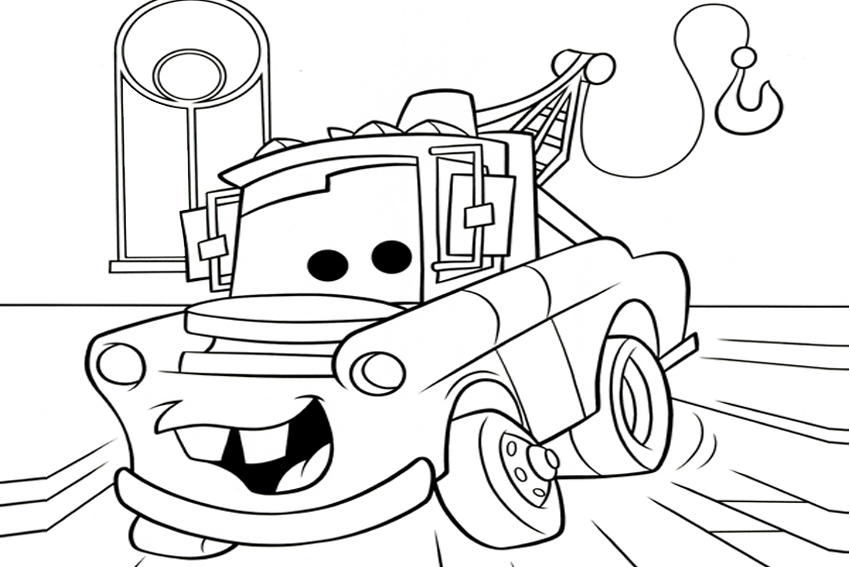 850x567 Disney Cars Mater Coloring Pages Preschool For Funny Draw To Print