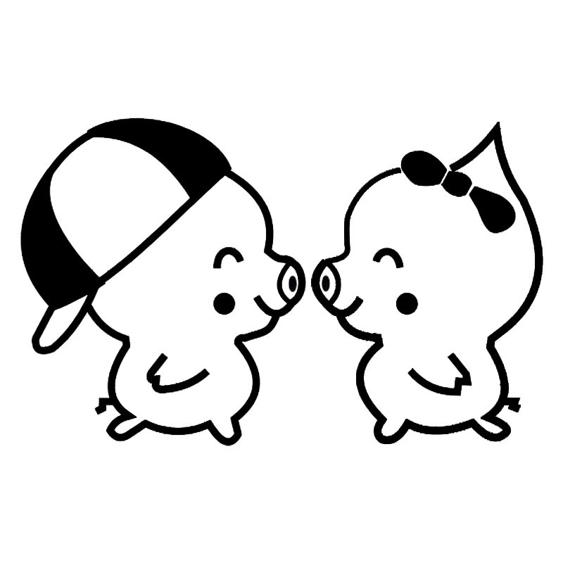 800x800 1610cm Lovely Pig Couple Vinyl Car Styling Funny Car Stickers