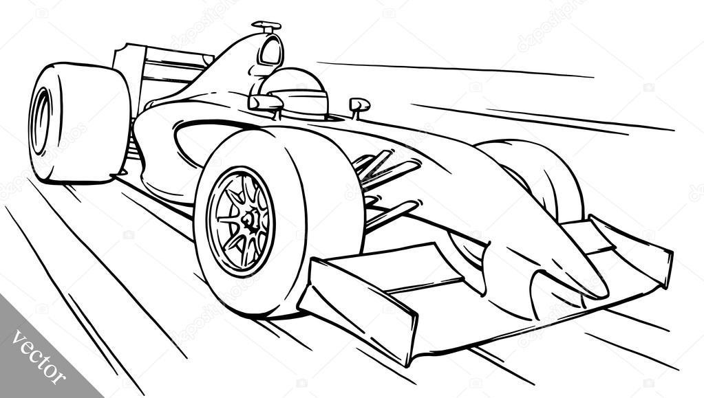 1023x579 Childs Funny Cartoon Formula Race Car Vector Illustration Art