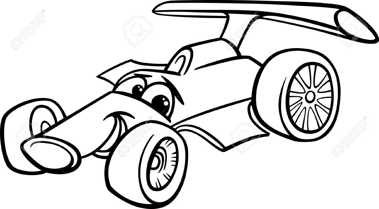 1300x717 Black And White Cartoon Funny Racing Car Royalty Free Cliparts