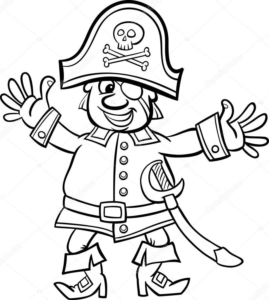 919x1023 Pirate Captain Cartoon For Coloring Book Stock Vector