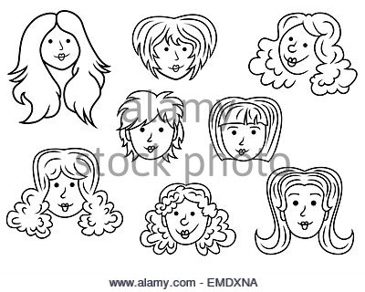 400x320 Set With Eight Funny Women Contour Faces Over White, Hand Drawing