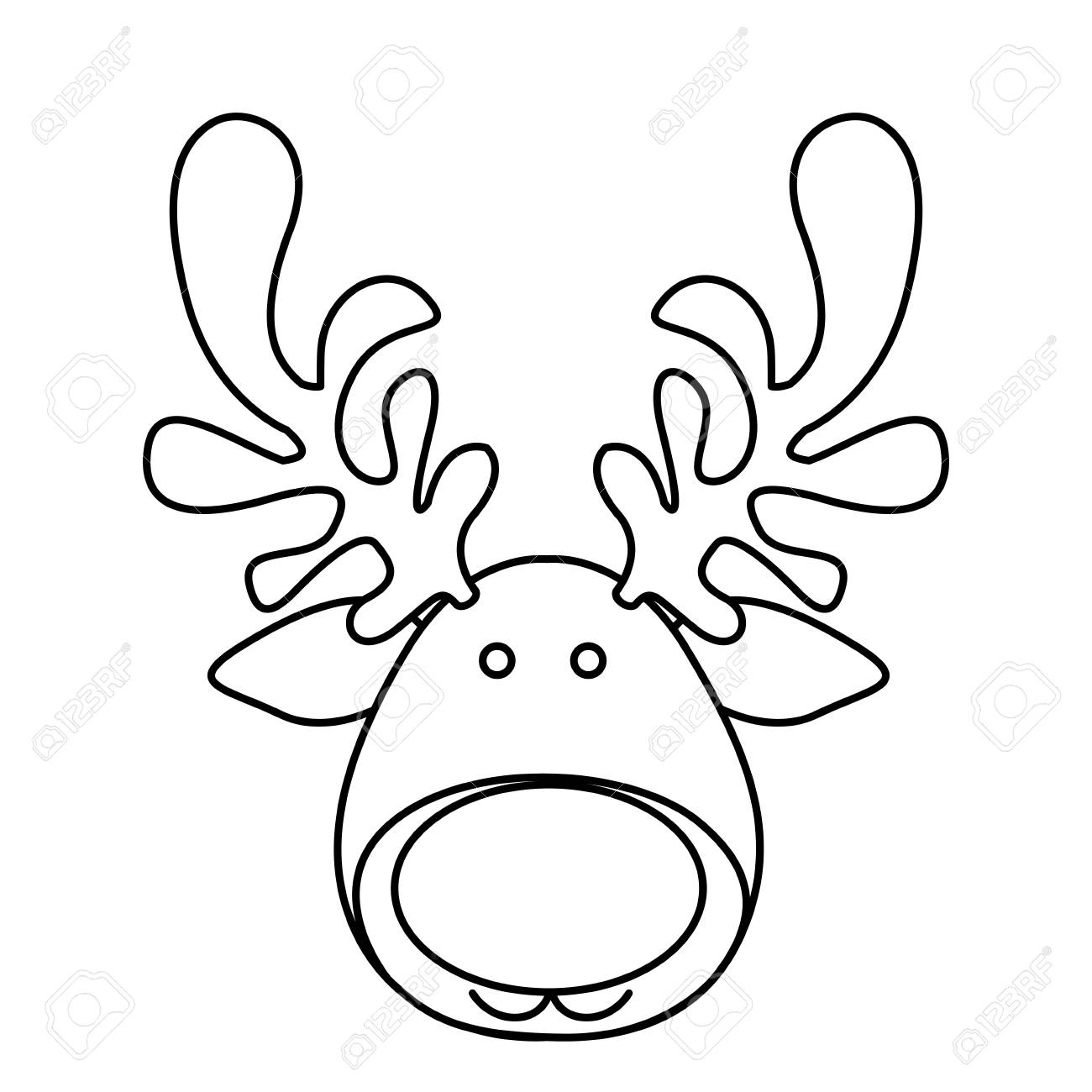 1300x1300 Silhouette Cartoon Funny Face Reindeer Animal Vector Illustration