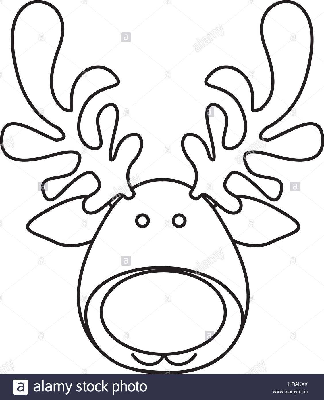 1128x1390 Silhouette Cartoon Funny Face Reindeer Animal Stock Vector Art