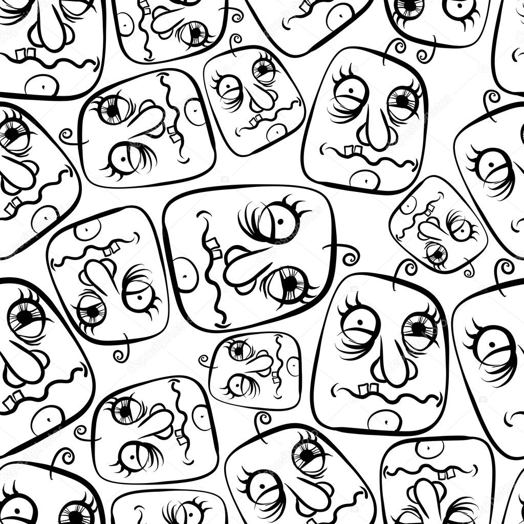 1024x1024 Funny Faces Seamless Background Stock Vector Ostapius