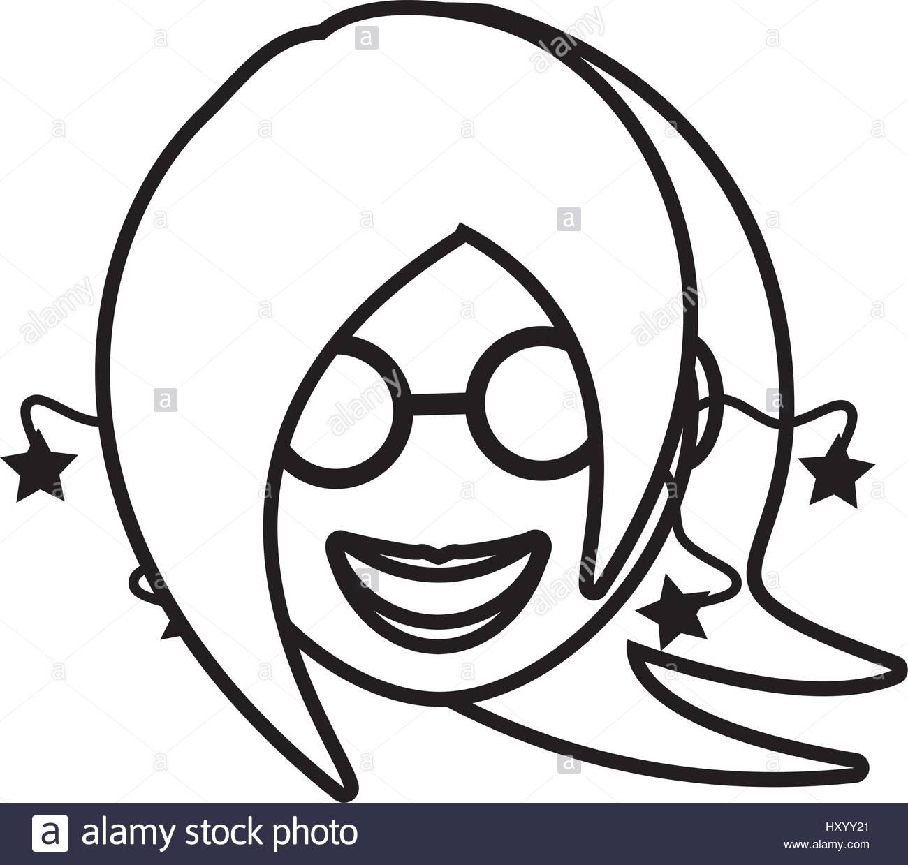 1300x1239 Face Girl Funny Glasses Outline Stock Vector Art Amp Illustration