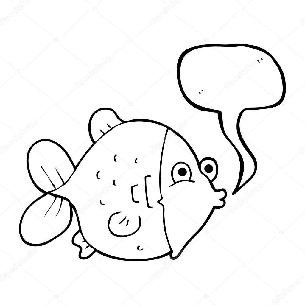 1024x1024 Speech Bubble Cartoon Funny Fish Stock Vector Lineartestpilot