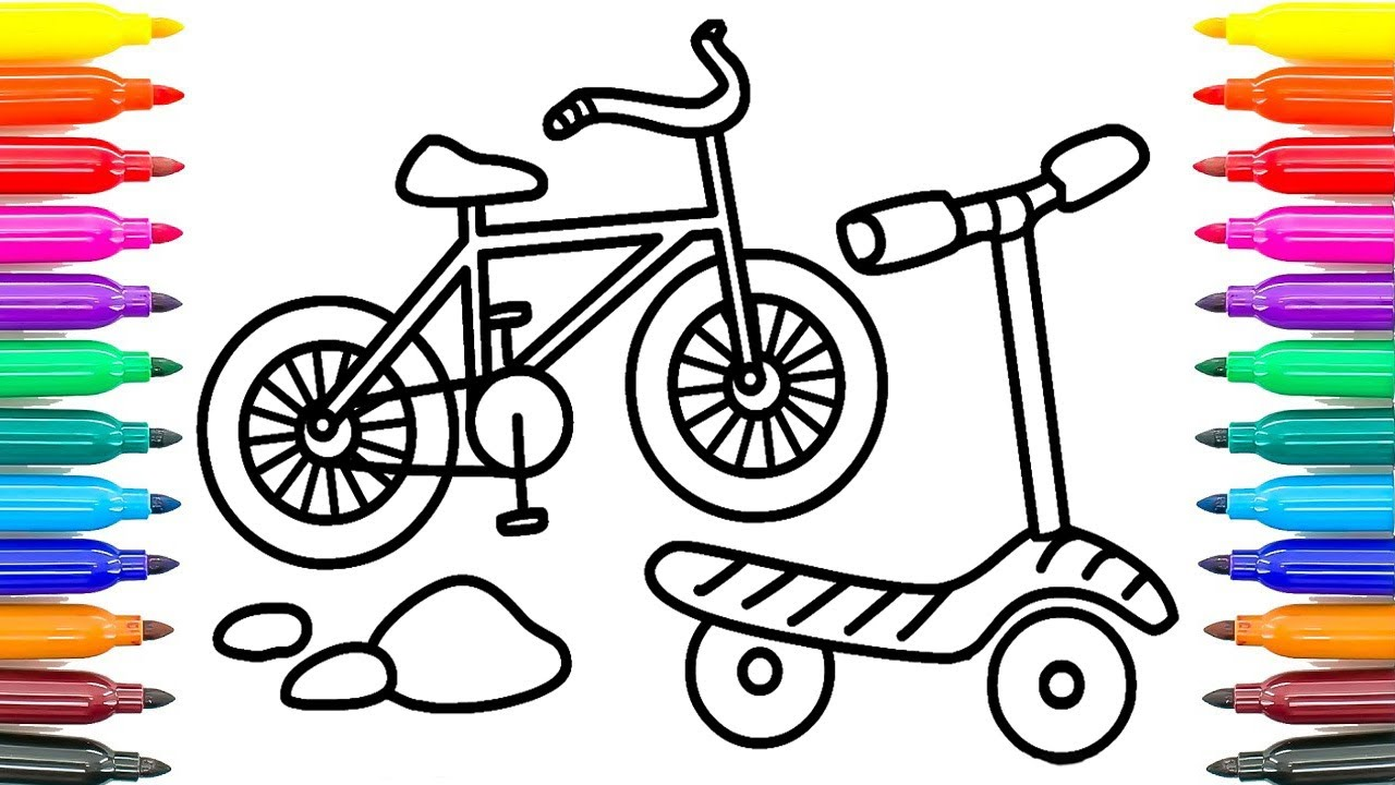 1280x720 How To Draw Bicycle For Kids How To Paint Bicycle Coloring Pages