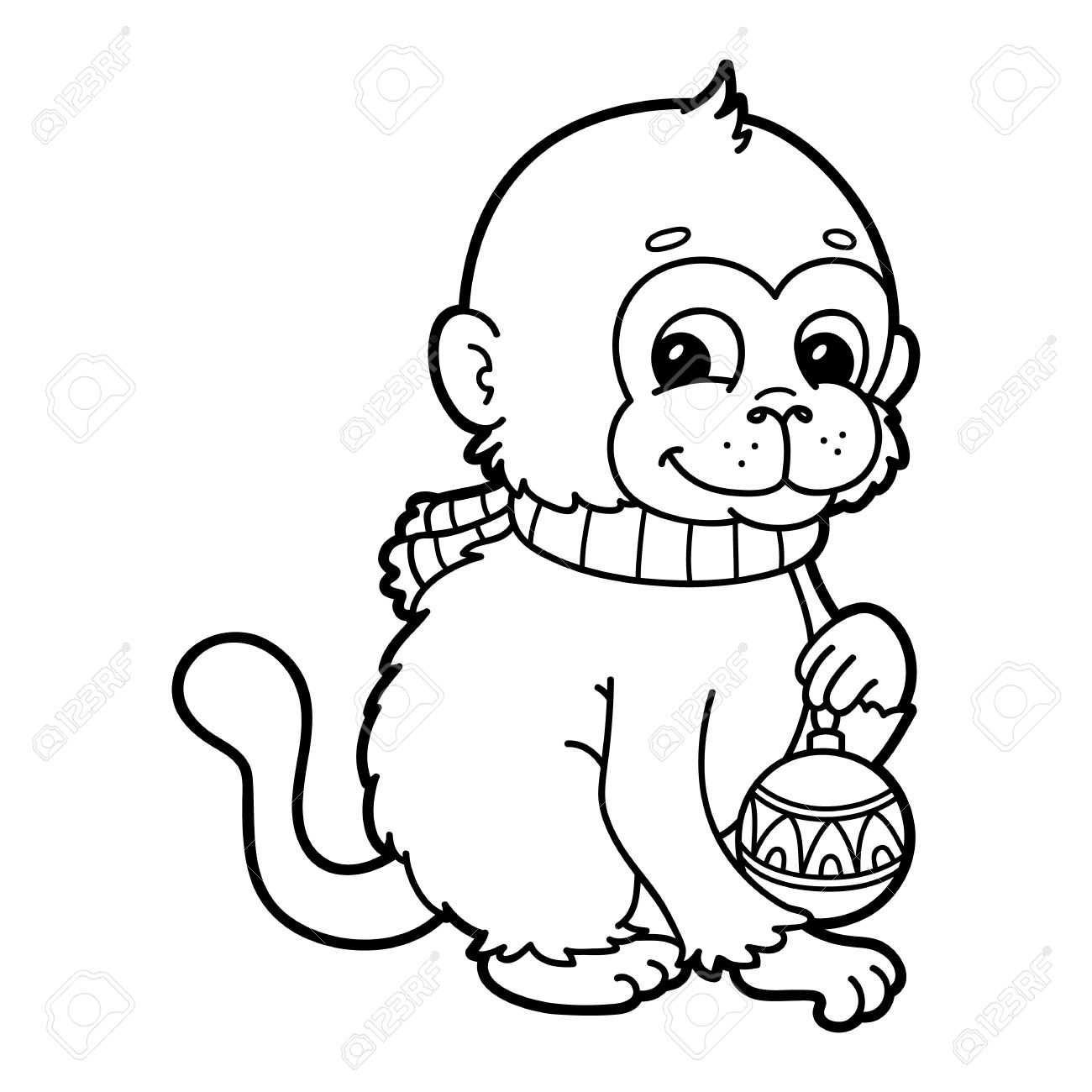 1300x1300 Funny Monkey. Vector Illustration Coloring Page Of Happy Cartoon