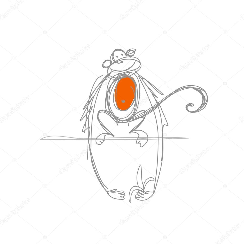 1024x1024 Funny Monkey Sketch For Your Design Stock Vector Kudryashka