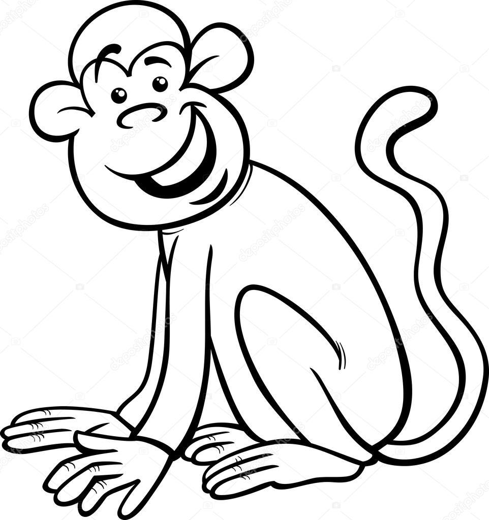 962x1024 Funny Monkey Cartoon Coloring Page Stock Vector Izakowski