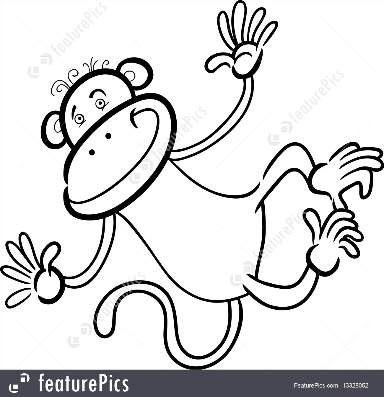 1300x1345 Cartoon Characters Funny Monkey For Coloring Book