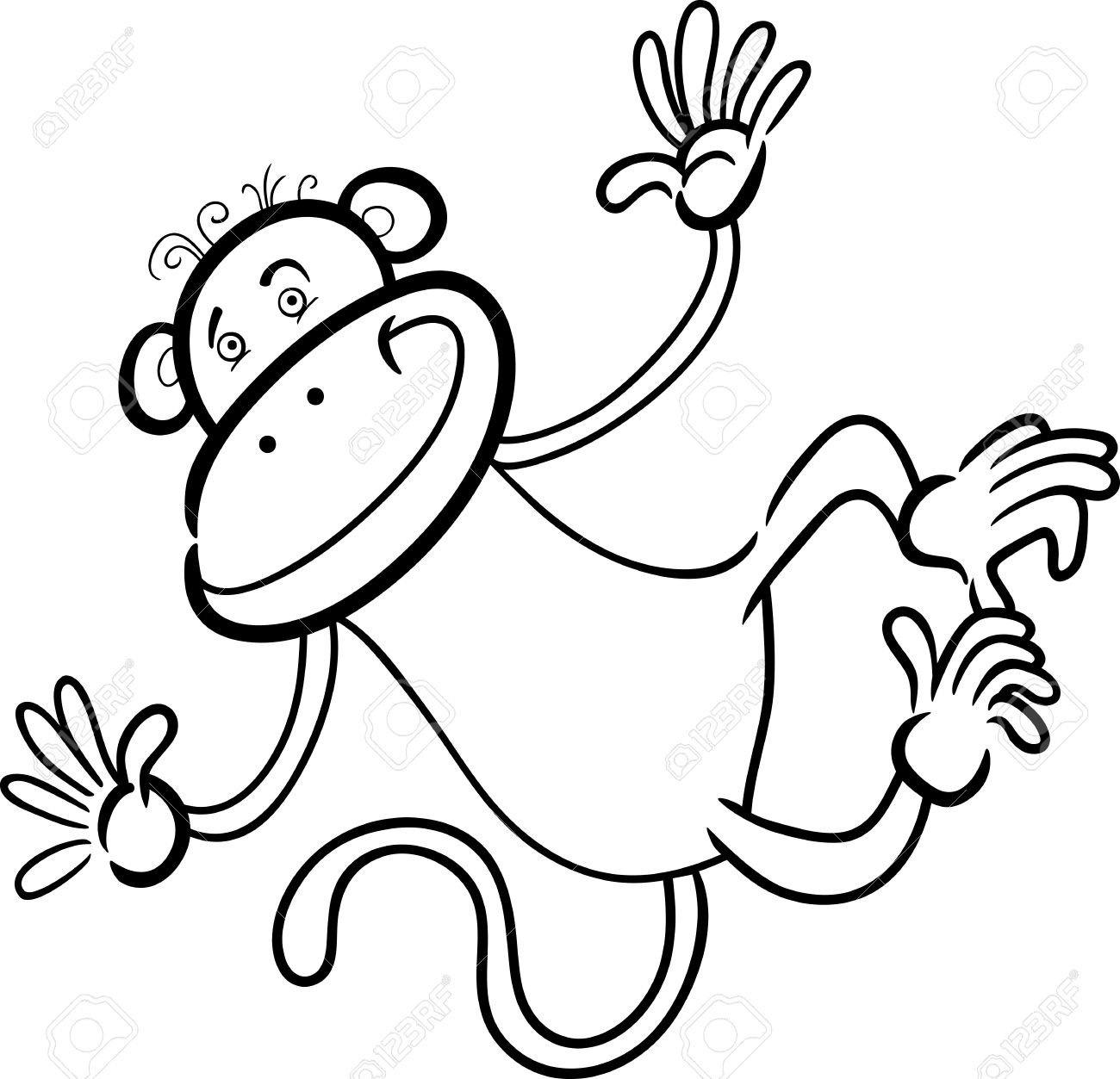 1300x1253 Cartoon Humorous Illustration Of Cute Funny Monkey For Coloring