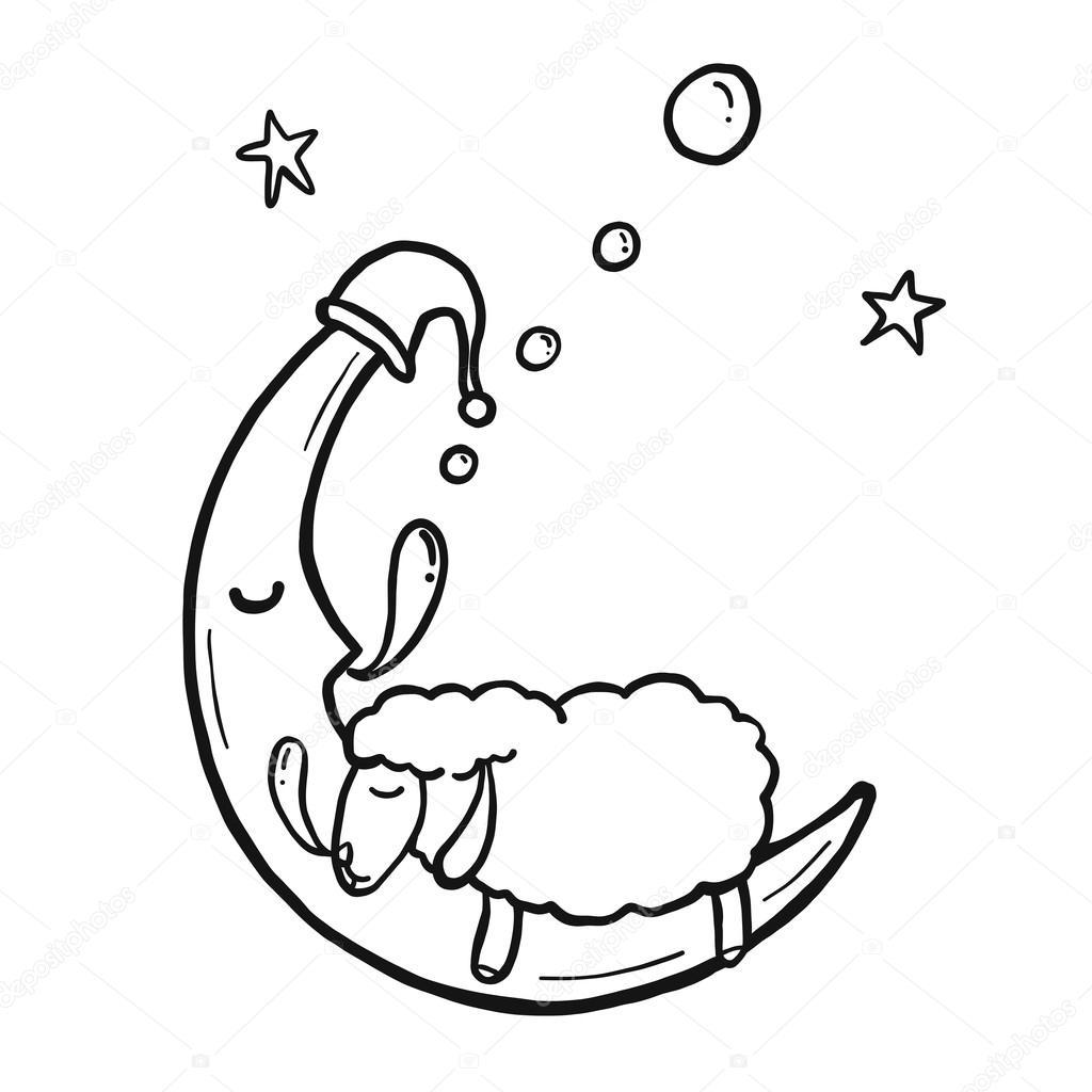 1024x1024 Sleeping Sheep Funny Sheep Cartoon isolated vector — Stock