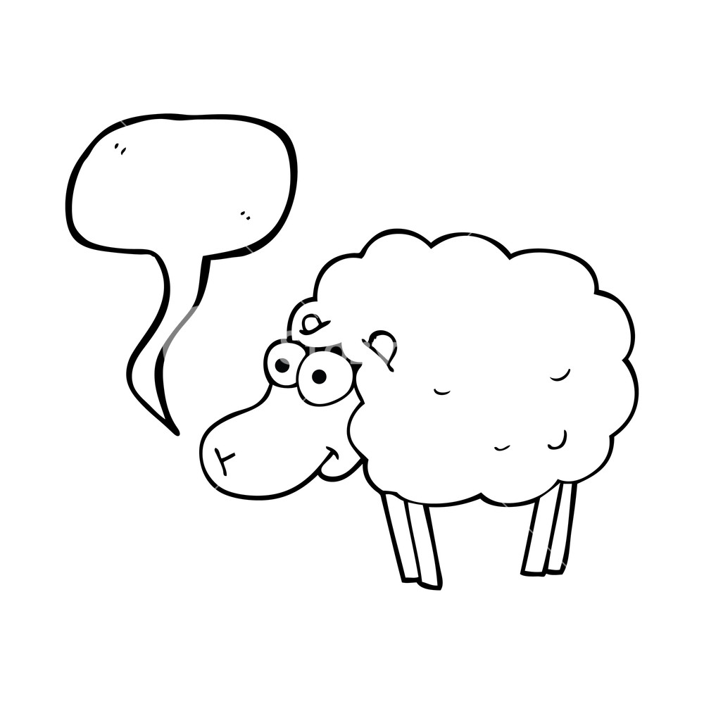 1000x1000 funny freehand drawn speech bubble cartoon sheep Royalty Free