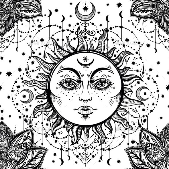 590x590 Beautiful Floral Paisley Sun Face Pattern Tattoo, Draw And Henna