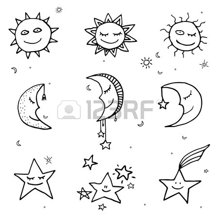 450x450 Cute And Funny Sun, Moon And Stars Doodle Icons. Vector Set